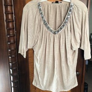 Forever 21 neutral cream embellished blouse